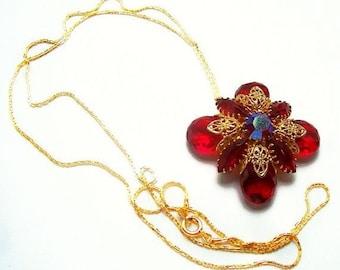 "Red Juliana Pendant Gold Metal Chain & Filigree Repurposed 30"" Vintage"