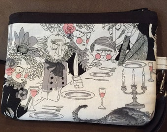 Wristlet, Cosmetic Bag, Purse Organizer, Make up Bag, Small Purse, Alexander Henry, The Ghastlies, A Ghastlie Night