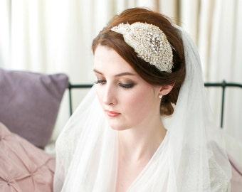 Celebration Vintage Silk and Beaded Bridal Cap Headpiece no.3