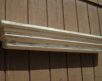 Distressed wooden fireplace mantel shelf - Floating shabby chic mantle shelf - The Studio Shelf