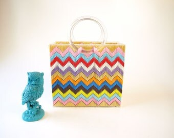 vintage colorful chevron striped tote bag