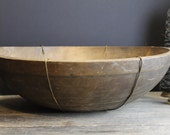 Old Large Handmade Wood Bowl With Wire Hanger // Aged Patina