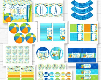 Personalized Diy Boy's Pool Party Birthday Party Digital Printable Party Package