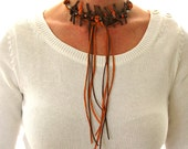 Long Choker Collar Necklace, Unusual Jewelry, Boho Statement Tie Necklace