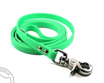"""Neon Apple Green Small Dog Leash - Beta Biothane - 1/2"""" (12mm) Wide - Choice of: 4ft, 5ft, 6ft (1.2m, 1.5m, 1.8m) and hardware type"""