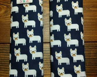 Reversible TODDLER Car Seat Strap Covers Ann Kelle Mini White French Bulldogs on Navy with Navy Dimple Dot Minky Unisex Baby ITEM #200