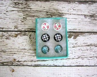 Rockabilly Stud Set : Roses Leopard Checker Prints Earrings