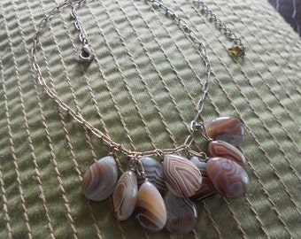 Vintage Botswana agate necklace.  Teardrop stones.