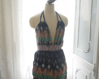 Boho Bohemian Gypsy Backless Navy blue Tribal Print Fringe Romper cotton beach wear summer  Romantic Angel