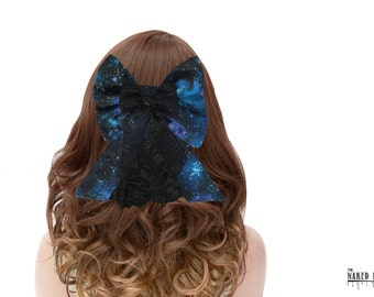 LHB 15  Lolita Hair Bow Galaxy Cotton and Black Lace Barrette
