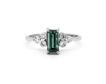 The Regent Ring - 18ct White Gold Diamond Tourmaline Engagement Ring