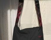 Medium Messenger Bag Messenger purse Black purse Shoulder bag Upcycled Recycled Repurposed Bag Again