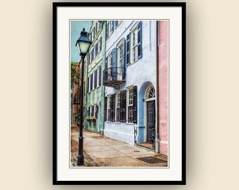 Charleston Rainbow Row Historic Homes Georgian Architecture Charleston South Carolina Pastel Colors Fine Art Photography Print
