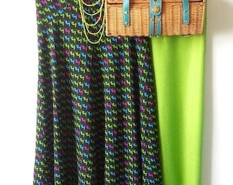 1970's Black Poly Print Maxi Dresss