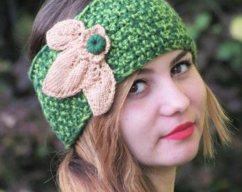 Green Knit Headband Crochet Turband Ear Warmer. Head Dress, Winter Fashion, Hair Bands Hair Coverings for Women, Leaves, Boho, Gypsy, turban
