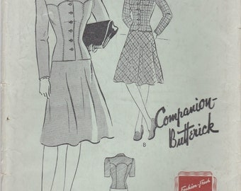 1940s Classic Skirt Suit Pattern Butterick 1105 Size 14