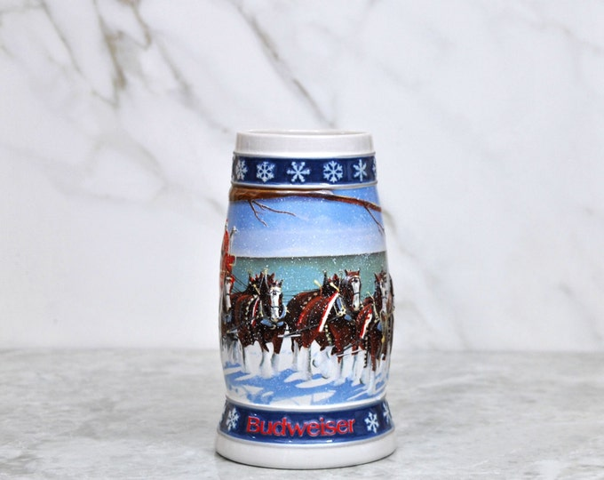 Vintage Budweiser Beer Stein,1995, Holiday Lighting the way Home Handcrafted Expressly For Anheuser, Busch Inc. By Ceramarte In Brazil