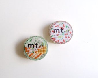SALE - Set of 2 Spring Summer Washi Tapes, Japanese Washi Tape, MT ex tape - Green Flower and Red Cherry