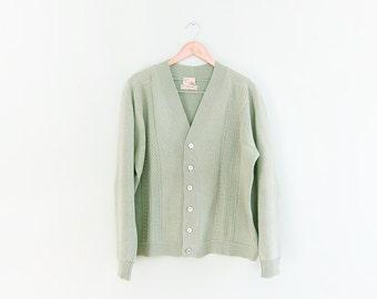 vintage cardigan / grandpa cardigan / oversize / 1960s sage green wool cardigan Large