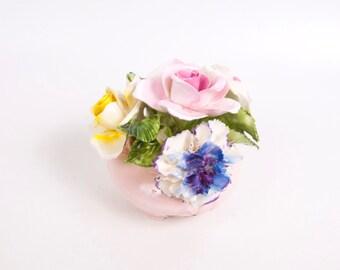 RESERVED FOR LESLIE Vintage Radnor Bone China Staffordshire England Flower Bouquet in Pink Vase Sculptured Porcelain Flowers
