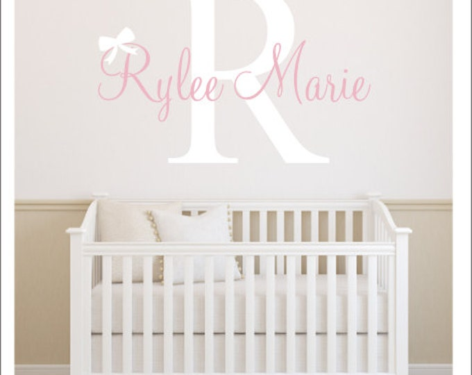 Personalized Wall Decal Baby Nursery Decal Gender Neutral Decal Children Kids Wall Decal Initial Name with Bow Decal Girly Wall Decal Vinyl