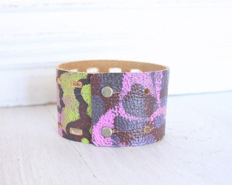 Funky Leather Jewelry | Bohemian Cuff Bracelet | Leather wristband | Leather Accessories | Upcycled Eco Friendly | Spring Fashion Trends
