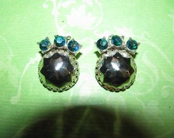 Vintage Silver Tone  AB Blue Carnival Glass Rhinestone Clip On Earrings