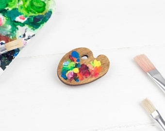 Little Wooden Paint Palette Brooch, Hand Painted, Plywood Artist Palette, Laser Cut Jewellery