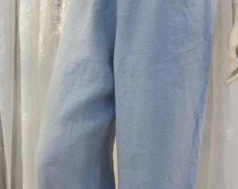Vintage 90's J Jill blue linen pants size M