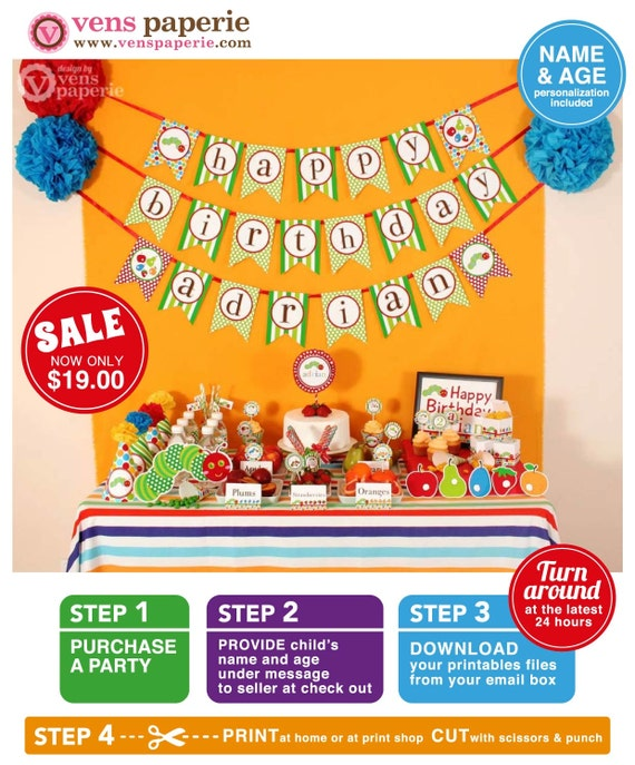 The Caterpillar Birthday Party Package Personalized FULL Collection Set - PRINTABLE DIY - PS820CA1x
