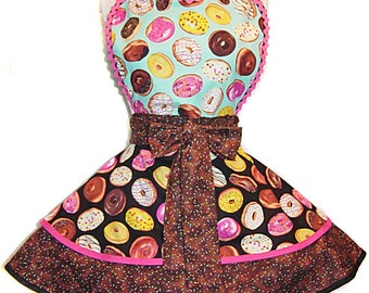 Make Every Day Donut Day With This Tasty Frosted Donuts And Coffee Retro Apron--A Tie Me Up Aprons Exclusive