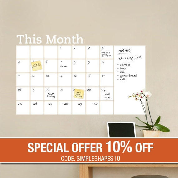 dry erase wall calendar with memo dry erase wall decals vinyl wall sticker decal wall calendar dry erase by