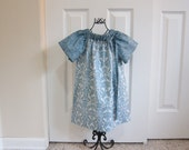 SALE  Peasant Dress -   SUMMER DRESS -  Spring Dress  -  Toddler Girls  3T  Blue and White Damask - Ready to ship - By Emma Jane Company