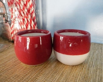 Cook's Hotel Restaurant Supply Pottery By Jackson China Dark Rose Pink Red White Custard Cups Bowls