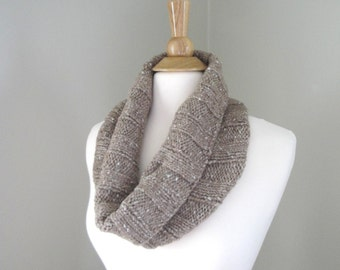 Squishy Cowl Scarf, Knit in Alpaca Wool, Cuddly Scarf, Circle Loop, Shoulder Wrap, Glitter - Sparkle
