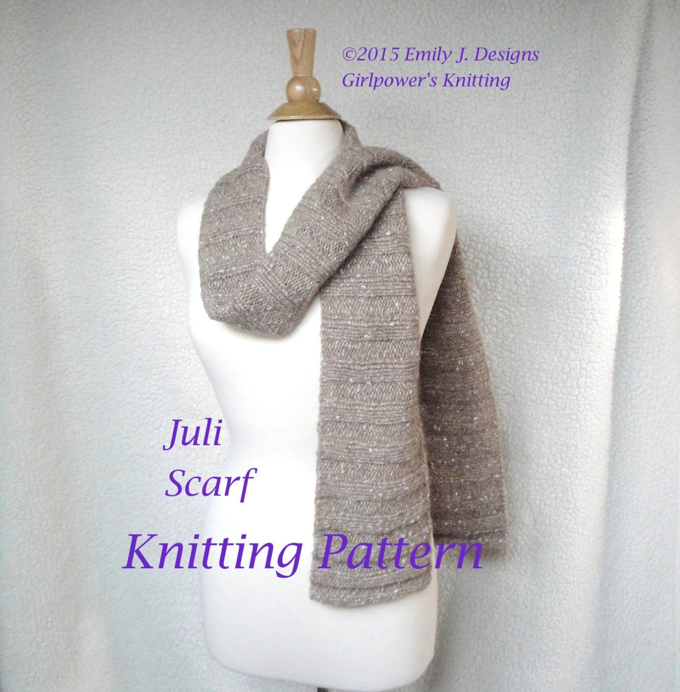 Knitting Pattern Ribbed Scarf : Juli Scarf Knitting Pattern Lengthwise Ribbed Scarf