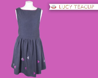 Women's Grey Pinafore Dress- with pink and grey triangle geometric pattern (WIND). 5 ladies sizes available.