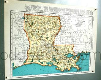 Vintage Louisiana Map, 1939 Original Atlas Antique Map, New Orleans, Baton Rouge