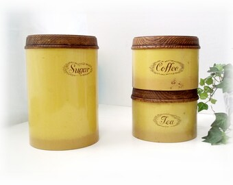 Vintage Burlington Kitchen Canister Set of 3 Collectible Tins With Embossed Wood Look Lids, Made in USA