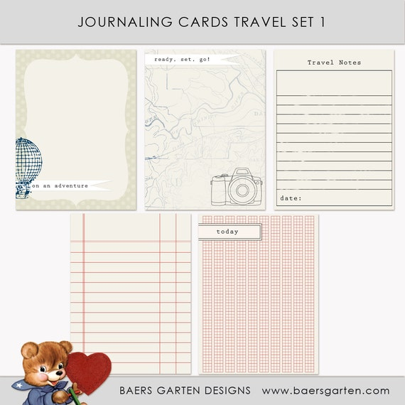 Printable Journaling Cards Travel Set 1 for Scrapbook and Project Life INSTANT DOWNLOAD