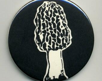 Morel Magnet or Pinback Button Black on Various Colors
