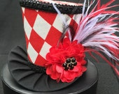 Red and White Mad Hatter Mini Top Hat for Dress Up, Ugly Sweater Party, Tea Party or Photo Prop