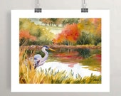 Great Blue Heron Art Print, Autumn Watercolor Painting, Pond Decor by Janet Zeh