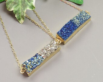 Druzy Necklace - Your Choice of Color Gold Druzy Pendant Necklace - Druzy Bar Necklace - Druzy Jewelry - Trendy Necklace