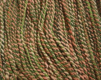 "Handspun Yarn, Merino Wool / ""Hidden in the Trees,"" Camouflage Yarn / Worsted Weight / 100 yards eash, and approximately 3.7 oz. each"