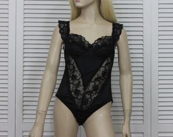 Vintage Black Teddy / Basque Size Medium 1980s