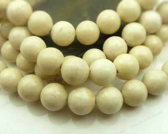 6mm Natural Light Creamy Tan Fossil Stone Round Gemstone Beads - 15.5 Inch Strand - BB35