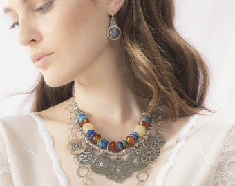 Multi gemstone necklace, Silver Ethnic Necklace, Multi stone necklce, Genuine Gemstone Jewelry
