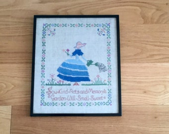 1930s Cross Stitch Crinoline Lady in her Garden Hand Art Deco  Embroidery Needlework Sampler