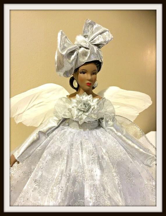 African American Christmas Angel Tree Topper Ooak Handcrafted